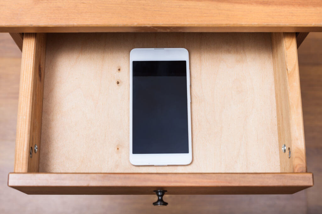 iPhone in a drawer