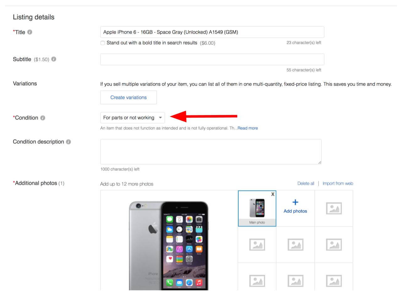 "To sell a cracked iPhone on eBay, select the ""For parts or not working"" condition category."