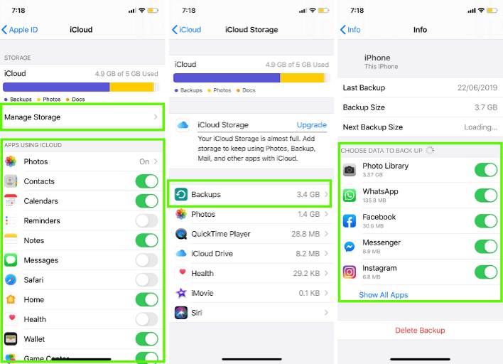 How to clear space on iCloud from an iOS device